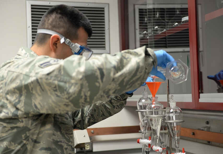 U.S. Air Force Airman 1st Class Armondo Velasquez, a 354th Logistics Readiness Squadron fuels lab technician, conducts a Fuels System Icing Inhibitor (FSII) test June 12, 2017, at Eielson Air Force Base, Alaska. The FSII test is one of several tests fuels lab personnel carry out periodically to ensure clean, dry fuel is issued to aircraft. (U.S. Air Force photo by Airman 1st Class Cassandra Whitman)