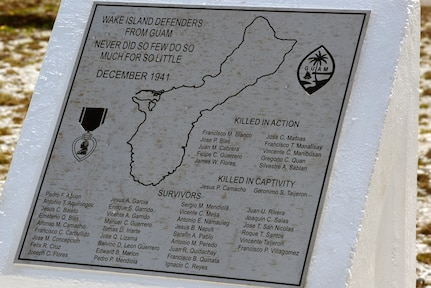 The newly renovated Guam Memorial on Wake Island is unveiled during a rededication ceremony June 8, 2017. The Guam Memorial on Wake Island was erected in 1991 to honor 45 Chamorros from Guam who worked for Pan American airlines. On Dec. 8, 1941, just a few hours of the attack on Pearl Harbor, Hawaii, Japanese forces attacked Wake Island and 10 of the 45 Chamorros were killed in the attack. The remaining 35 men were sent to prison camps in Japan and China where two died in captivity. Due to decades of corrosion, heat and sun, the memorial was degraded to the point where it became unreadable. For many months in 2017, the memorial was renovated.