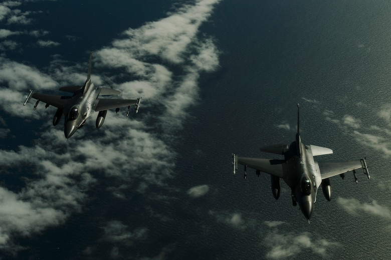 U.S. Air Force F-16 Fighting Falcons, 510th Fighter Squadron, deployed to Krzesiny Air Base, Poland, in support of Aviation Detachment rotation 17-3, exercise BALTOPS and exercise Saber Strike fly in a two ship formation over the Baltic Sea, June 13, 2017. BALTOPS is an annually recurring multinational exercise designed to enhance flexibility and interoperability, as well as demonstrate resolve of allied and partner forces to defend the Baltic region. Participating nations include Belgium, Denmark, Estonia, Finland, France, Germany, Latvia, Lithuania, the Netherlands, Norway, Poland, Sweden, the United Kingdom, and the United States. (U.S. Air Force photo by Staff Sgt. Jonathan Snyder)