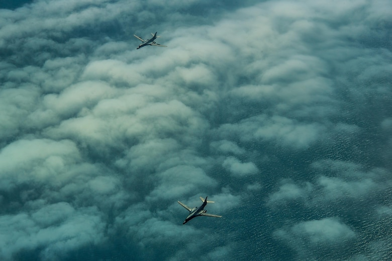 Two USAF B-1B Lancers, 28th Bomb Wing, participates in BALTOPS over the Baltic Sea, June 9, 2017. The exercise is designed to enhance flexibility and interoperability, to strengthen combined response capabilities, as well as demonstrate resolve among Allied and Partner Nations' forces to ensure stability in, and if necessary defend, the Baltic Sea region. (U.S. Air Force photo by Staff Sgt. Jonathan Snyder)