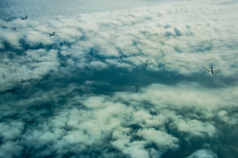 Two U.S. Air Force B-1B Lancers, 28th Bomb Wing, one USAF KC-135R Stratotanker, 459th Air Refueling Wing and one USAF B-52H, 2nd Bomb Wing, fly in formation while participating in BALTOPS over the Baltic Sea, June 9, 2017. The exercise is designed to enhance flexibility and interoperability, to strengthen combined response capabilities, as well as demonstrate resolve among Allied and Partner Nations' forces to ensure stability in, and if necessary defend, the Baltic Sea region. (U.S. Air Force photo by Staff Sgt. Jonathan Snyder)