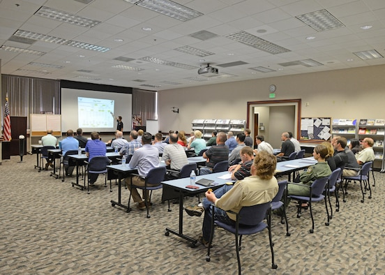 The 412th Test Wing held a technical symposium at the Airman and Family Readiness Center June 5. The event was intended to give engineers and scientists a broader view of the different test programs at Edwards Air Force Base. (U.S. Air Force photo by Kenji Thuloweit)