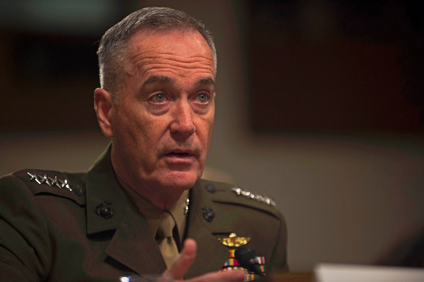 Marine Corps Gen. Joe Dunford, chairman of the Joint Chiefs of Staff, provides testimony on the Fiscal Year 2018 Defense Budget Request before members of the Senate Armed Services Committee in Washington D.C., June 13, 2017. DoD photo by Army Sgt. Amber I. Smith
