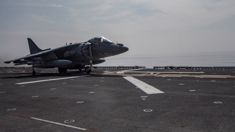 An AV-8B Harrier belonging to Marine Attack Squadron 311 prepares for flight aboard the USS Bonhomme Richard while underway in the Pacific Ocean, June 9, 2017. VMA-311 is the 31st Marine Expeditionary Unit's fixed-wing attack asset and is currently attached to Marine Medium Tiltrotor Squadron 265, the 31st MEU's Aviation Combat Element. During the flight the Harrier's pilot fired the Advanced Precision Kill Weapon System, a laser-guided rocket, for the first time in the Indo-Asia-Pacific region. The 31st MEU partners with the Navy's Amphibious Squadron 11 to form amphibious component of the Bonhomme Richard Expeditionary Strike Group. The 31st MEU and PHIBRON 11 combine to provide a cohesive blue-green team capable of accomplishing a variety of missions across the Indo-Asia-Pacific.