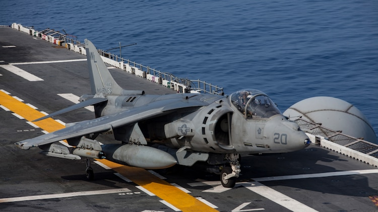 An AV-8B Harrier belonging to Marine Attack Squadron 311 taxis after landing aboard the USS Bonhomme Richard while underway in the Pacific Ocean, June 9, 2017. VMA-311 is the 31st Marine Expeditionary Unit's fixed-wing attack asset and is currently attached to Marine Medium Tiltrotor Squadron 265, the 31st MEU's Aviation Combat Element. During the flight the Harrier's pilot fired the Advanced Precision Kill Weapon System, a laser-guided rocket, for the first time in the Indo-Asia-Pacific region. The 31st MEU partners with the Navy's Amphibious Squadron 11 to form amphibious component of the Bonhomme Richard Expeditionary Strike Group. The 31st MEU and PHIBRON 11 combine to provide a cohesive blue-green team capable of accomplishing a variety of missions across the Indo-Asia-Pacific.