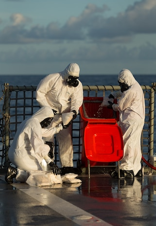 HMAS Arunta personnel dispose of 260kg of illegal narcotics seized on June 8, 2017 while on patrol in the Middle East region. HMAS Arunta operates as part of the multi-national Combined Maritime Forces, predominately tasked to support Combined Task Force 150 for counter-terrorism and maritime security operations. Arunta is deployed on Operation MANITOU, supporting international efforts to promote maritime security, stability and prosperity in the Middle East region (MER). (Photo courtesy of Royal Australian Navy)