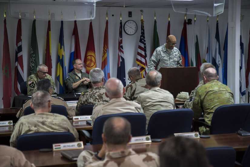 (June 9, 2017) - U.S. Air Force Lt Gen. Charles Q. Brown Jr., deputy commander U.S. Central Command, addresses coalition representatives at the conclusion of a force generation conference at USCENTCOM headquarters. The conference provided a venue for partner nations to volunteer personnel, equipment, and resources to the Combined Joint Task Force – Operation Inherent Resolve (CJTF-OIR) mission. (Photo by Tom Gagnier)