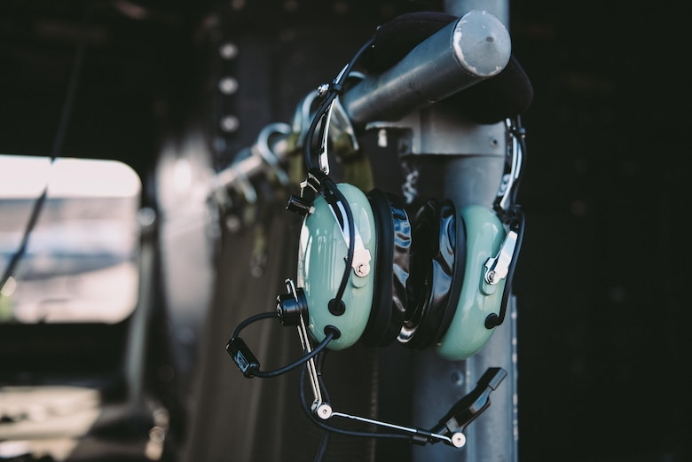 Headphones hang inside a 1st Helicopter Squadron UH-1N Iroquois at Joint Base Andrews, Md., June 9, 2017. The 1st HS conducted a flyover demonstration above the Air Force Memorial in Washington, D.C., in support of the U.S. Air Force Band's Heritage to Horizons concert series. (U.S. Air Force photo by Senior Airman Delano Scott)