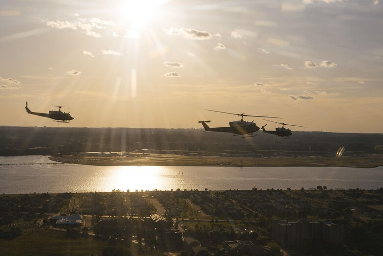 A 1st Helicopter Squadron UH-1N Iroquois formation flies above the Potomac River in Washington, D.C., June 9, 2017. The 1st HS conducted a flyover demonstration over the Air Force Memorial in support of the U.S. Air Force Band's Heritage to Horizons concert series. (U.S. Air Force photo by Senior Airman Delano Scott)