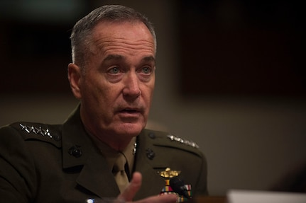 Marine Corps Gen. Joe Dunford, chairman of the Joint Chiefs of Staff, provides testimony on DoD's fiscal year 2018 budget request to members of the Senate Armed Services Committee in the Dirksen Senate Office Building in Washington, June 13, 2017.