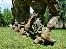 U.S. Army Soldiers from the Fort Eustis Color Guard practice marching in step at Joint Base Langley-Eustis, Va., June 9, 2017. The color guardsmen participate in ceremonies such as retirement ceremonies, changes of command and responsibility, and memorial ceremonies in the local Hampton Roads community, to honor current and prior service members. (U.S. Air Force photo/Staff Sgt. Teresa J. Cleveland)