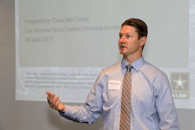 David Van Dorpe, chief, Programs and Project Management presents a Civil Works Overview touching on budgeting, the Flood Risk Management Program and ways the Corp can help local flood control districts June 8. Twelve counties were represented at the inaugural Arizona Flood Control District Directors meeting with the U.S. Army Corps of Engineers Los Angeles District.