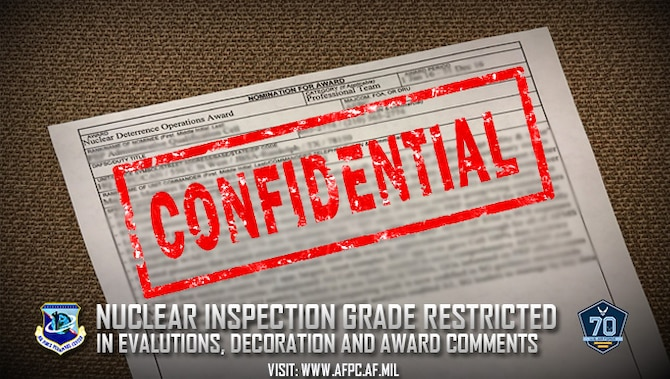 Recent revisions to the Air Force Inspection System Security Classification Guide for Use of the Inspector General Evaluation Management Tool and Rating/Grading System, and the Chairman of the Joint Chiefs of Staff Instruction 3263.05C, Nuclear Weapons Technical Inspections, have increased the classification of certain inspection grades frequently highlighted in select personnel documents. The Air Force Inspector General has elevated the overall grade of Initial Nuclear Surety Inspections (INSI) and the IG's grade of readiness for any Air Force unit to the minimum classification level of confidential. (U.S. Air Force photo illustration by Staff Sgt. Alexx Pons)