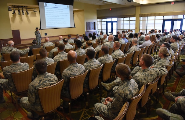 Col. Debra Lovette, 81st Training Wing commander, speaks to Airmen during a Commander's Call in the Bay Breeze Event Center June 12, 2017, on Keesler Air Force Base, Miss. The Commander's Call was one of several Wingman Week events focusing on resiliency and teambuilding initiatives across the base. (U.S. Air Force photo by Kemberly Groue)