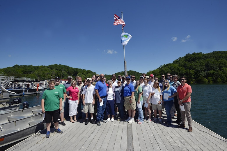 """The Hendricks Creek Marina on Dale Hollow Lake raised the """"Clean  Marina"""" flag today during a dedication ceremony recognizing the marina's voluntary efforts to reduce water pollution and erosion in the Cumberland River watershed, and for promoting environmentally responsible marina and boating practices."""