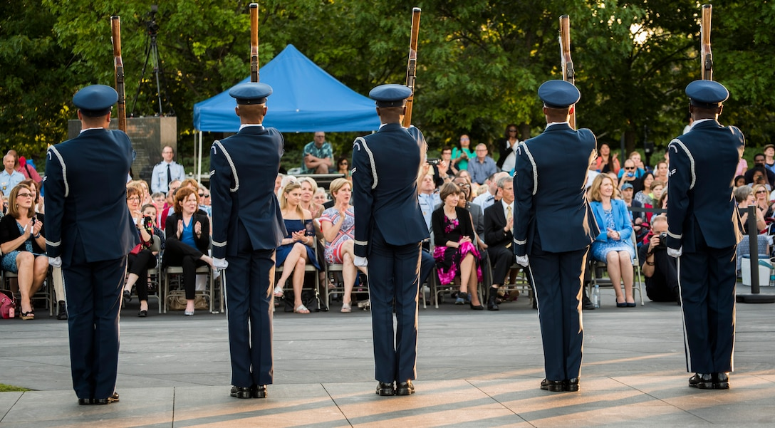 The second installment of the Heritage to Horizons concert series celebrating the Air Force's 70 years of breaking barriers was held at the Air Force Memorial, Arlington Va. June 9, 2017. The event was co-hosted by Undersecretary of the Air Force Lisa Disbrow and the Vice Chief of Staff of the Air Force Gen. Stephen Wilson, and featured performances by the U.S. Air Force Band and the U.S. Air Force honor Guard Drill Team.