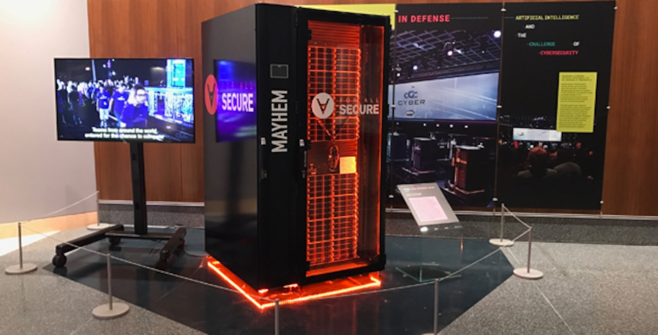 "Pittsburgh-based team ForAllSecure's Mayhem Cyber Reasoning System took first place at the August 2016 Cyber Grand Challenge finals, beating out six other computers. The Mayhem CRS is now on display at the Smithsonian's National Museum of American History in Washington as a standalone exhibit titled ""Innovations in Defense: Artificial Intelligence and the Challenge of Cybersecurity"" produced by the Lemelson Center for the Study of Invention and Innovation. The exhibit will run through Sept. 17, 2017. DoD photo"
