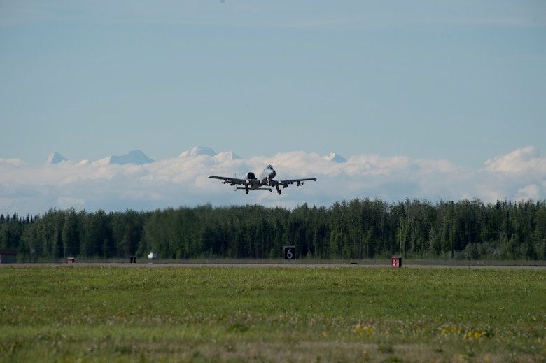 A U.S. Air Force A-10 Warthog takes off from the flight line during RED FLAG-Alaska 17-2 June 13, 2017, at Eielson Air Base, Alaska. RED FLAG-Alaska provides an optimal training environment in the Indo-Asia Pacific Region and focuses on improving ground, space, and cyberspace combat readiness and interoperabillity for U.S. and international forces.  (U.S. Air Force photo by Airman 1st Class Haley D. Phillips)