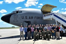 Indiana civic leaders pose with Col. Larry Shaw, 434th Air Refueling Wing commander and air crew after a flight at Grissom Air Reserve Base, Ind., June 6, 2017. The members were selected by leadership to get a first-hand look at the unit's mission. (U.S. Air Force photo/Senior Airman Cali Wetli)