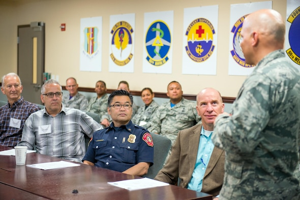 U.S. Air Force Col. Michael Higgins, 60th Medical Group commander, provides opening remarks to Honorary Commanders from Travis Air Force Base, Calif., during their tour of David Grant USAF Medical Center, June 9, 2017. The purpose of the Travis Air Force Base Honorary Commander Program is to promote relationships between base senior leadership and civilian partners, foster civic appreciation of the Air Force mission and its Airmen, maximize opportunities to share the Air Force story with new stewards, and to communicate the mutual interests, challenges, and concerns that senior leaders and civilian stakeholders have in common. (U.S. Air Force photo by Louis Briscese)