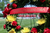 On June 14, 2017, the Marine Band participated in the funeral for World War II casualty Pfc. Larry R. Roberts, USMC. In November 1943, Roberts was assigned to Special Weapons Group, 2nd Defense Battalion, Fleet Marine Force, which landed against stiff Japanese resistance on the small island of Betio in the Tarawa Atoll of the Gilbert Islands, in an attempt to secure the island. Roberts died Nov. 25, 1943. Despite the heavy casualties suffered by U.S. forces, military success in the battle of Tarawa was a huge victory for the U.S. military because the Gilbert Islands provided the U.S. Navy Pacific Fleet a platform from which to launch assaults on the Marshall and Caroline Islands to advance their Central Pacific Campaign against Japan. In June 2015, a nongovernmental organization, History Flight, Inc., notified DPAA that they discovered a burial site on Betio Island and recovered the remains of what they believed were 35 U.S. Marines who fought during the battle in November 1943. The remains were turned over to DPAA in July 2015. Roberts' remains were returned to the United States and buried at Arlington National Cemetery with military honors. (U.S. Marine Corps photo by Gunnery Sgt. Rachel Ghadiali/released)