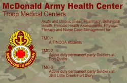 The staff at McDonald Army Health Center's Troop Medical Services at Joint Base Langley-Eustis, Va. and Joint Expeditionary Base Little Creek-Fort Story, Va. divide active duty Soldiers into three separate demographics in order to provide medical care to U.S. Army Soldiers quickly and effectively, improving the readiness of service members across installations. By splitting the demographics into different clinics, medical personnel can pay closer attention to Soldier care, focusing on readiness, length of duty-limiting profiles, military exams, immunizations and periodic health assessments. (U.S. Air Force graphic/Staff Sgt. Teresa J. Cleveland)