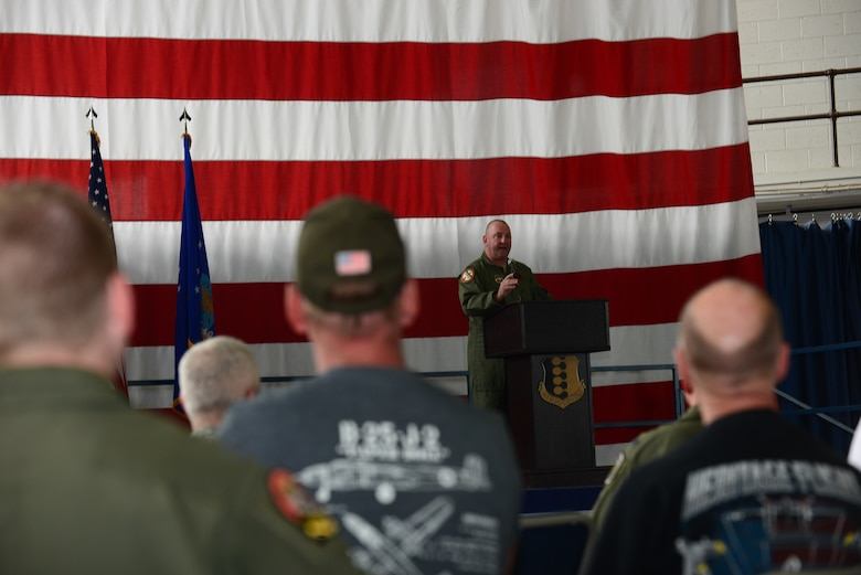 Retired Col. Thomas Arko, a guest speaker during the 100th anniversary celebration, spoke on the 34th and 37th Bomb Squadrons in the Pride Hangar at Ellsworth Air Force Base, S.D., June 12, 2017. Both the 34th and 37th BS have played significant roles in the nation's defense dating back to the Army Air Corps and their involvement with World War I. (U.S. Air Force photo by Airman 1st Class Donald C. Knechtel)