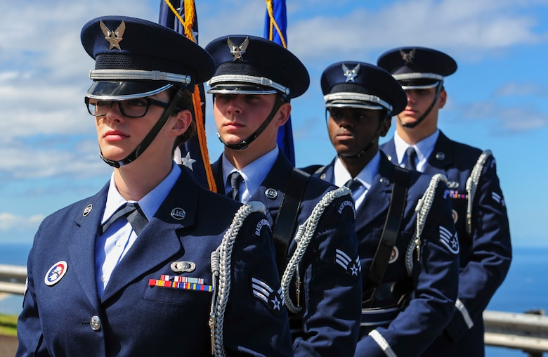 Joint Base Pearl Harbor-Hickam Honor Guard prepares to post the colors during the Detachment 3 Change of Command Ceremony, Kaena Point, Hawaii, June 9, 2017.  Detachment 3 is a component of the 21st Space Operations Squadron, 50th Network Operations Group, 50th Space Wing, and is located on the western tip of Oahu.  It is the oldest and one of seven worldwide remote tracking stations in the Air Force Satellite Control Network.  (U.S. Air Force photo by Tech. Sgt. Heather Redman)