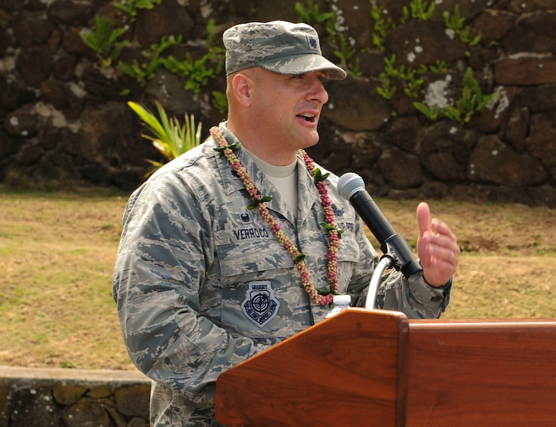Lt. Col. Phillip Verroco, 21st Space Operations Squadron commander, gives opening comments during the Detachment 3 Change of Command Ceremony, Kaena Point, Hawaii, June 9, 2017.  Detachment 3 is a component of the 21st Space Operations Squadron, 50th Network Operations Group, 50th Space Wing, and is located on the western tip of Oahu.  It is the oldest and one of seven worldwide remote tracking stations in the Air Force Satellite Control Network.  (U.S. Air Force photo by Tech. Sgt. Heather Redman)
