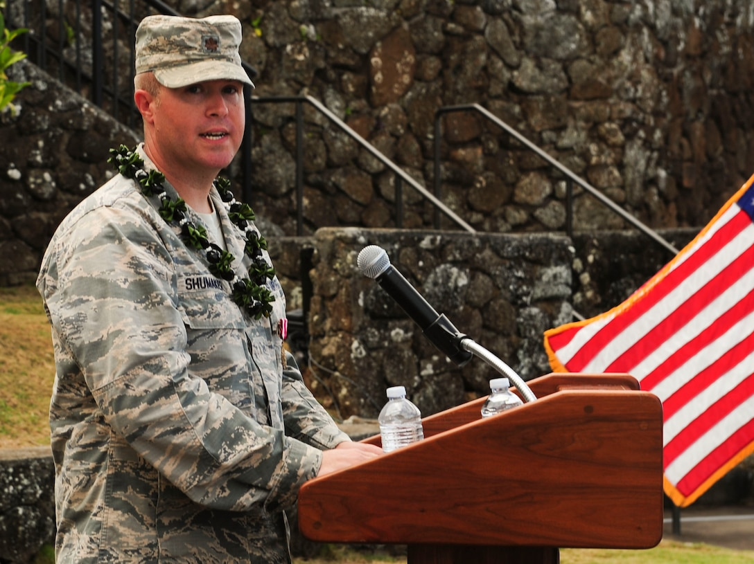 Maj. Robert F. Shumaker, Detachment 3 outgoing commander, thanks the Airmen of Detachment 3 for their service during the Detachment 3 Change of Command Ceremony, Kaena Point, Hawaii, June 9, 2017.  Detachment 3 is a component of the 21st Space Operations Squadron, 50th Network Operations Group, 50th Space Wing, and is located on the western tip of Oahu.  It is the oldest and one of seven worldwide remote tracking stations in the Air Force Satellite Control Network.  (U.S. Air Force photo by Tech. Sgt. Heather Redman)