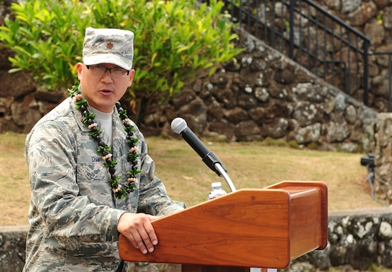 Maj. Edmond Chan, Detachment 3 commander, speaks to his unit during the Detachment 3 Change of Command Ceremony, Kaena Point, Hawaii, June 9, 2017.  Detachment 3 is a component of the 21st Space Operations Squadron, 50th Network Operations Group, 50th Space Wing, and is located on the western tip of Oahu.  It is the oldest and one of seven worldwide remote tracking stations in the Air Force Satellite Control Network.  (U.S. Air Force photo by Tech. Sgt. Heather Redman)