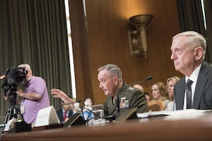 Defense Secretary Jim Mattis and Marine Corps Gen. Joe Dunford, chairman of the Joint Chiefs of Staff, provide testimony on the fiscal 2018 Defense Department budget request to members of the Senate Appropriations Committee's defense subcommittee, June 14, 2017. DoD photo by Navy Petty Officer 2nd Class Dominique A. Pineiro
