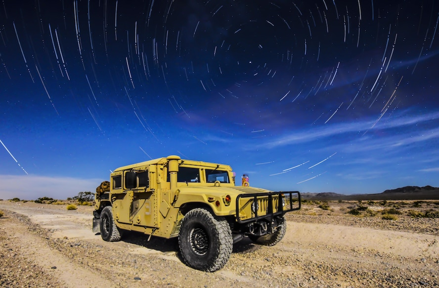 A 99th Civil Engineer Squadron explosive ordnance disposal team Humvee sits under the stars during a training exercise at the Nevada Test and Training Range June 7, 2017. The Humvee is the military's premier light armored truck and has multiple modifications that best suits each unit's specific needs. (U.S. Air Force photo illustration by Airman 1st Class Andrew D. Sarver/Released)