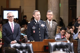 Maj. Scotty Autin, deputy commander of the LA District, addressed the council members and public who filled the council chambers June 8. Members of the U.S. Army Corps of Engineers Los Angeles District joined City of Los Angeles Councilmember Mitch O'Farrell (L) and his staff in recognizing the collaborative efforts to improve, preserve and revitalize the Los Angeles River during a special City Council presentation City Hall June 8.