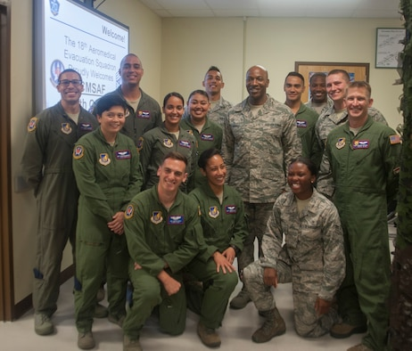 Chief Master Sgt. of the Air Force Kaleth O. Wright stands with members of the 18th Aeromedical Evacuation Squadron June 12, 2017, at Kadena Air Base, Japan. Wright is the 18th Chief Master Sgt. of the Air Force. (U.S. Air Force photo by Senior Airman Quay Drawdy)