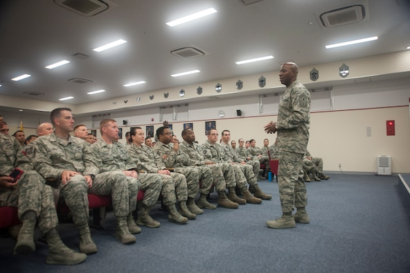 Chief Master Sgt. of the Air Force Kaleth O. Wright speaks with Shogun Airmen at the Erwin Professional Military Education Center June 12, 2017, at Kadena Air Base, Japan. Members of the 18th Wing spoke with Wright about upcoming changes, policies and their missions. (U.S. Air Force photo by Senior Airman Quay Drawdy)