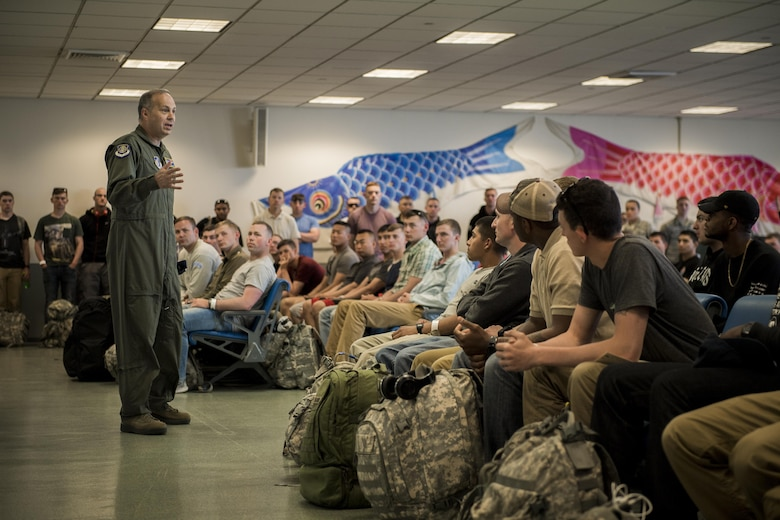U.S. Air Force Lt. Gen. Jerry P. Martinez, United States Forces Japan and 5th Air Force commander, gives a welcome speech to Noncombatant Evacuation Operations exercise participants, June 6, 2017, at Yokota Air Base, Japan. The decision to conduct a NEO is made on a case by case basis due to natural disasters, civil unrest or military conflict to ensure the safety of the estimated 228,000 U.S. citizen residents and tourists in the Republic of Korea. (U.S. Air Force photo by Airman 1st Class Donald Hudson)