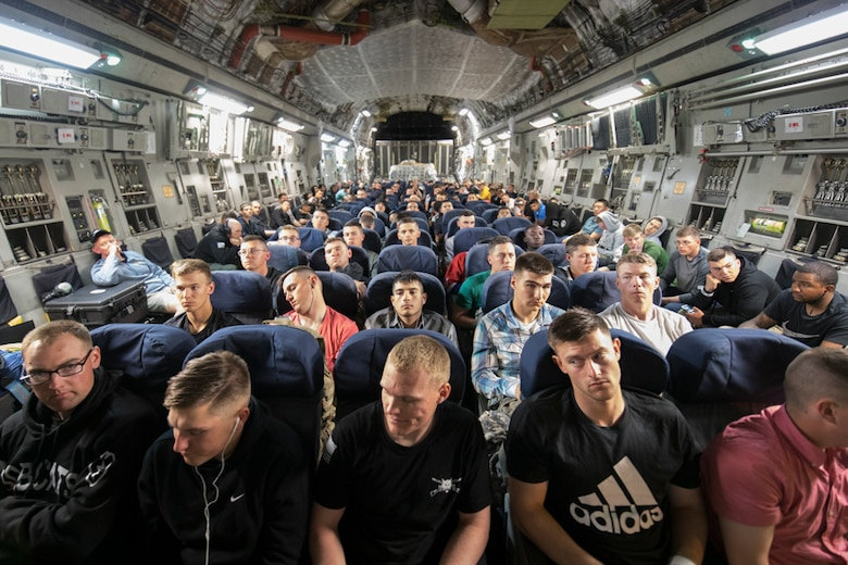 U.S. Army Solders wait to exit in a C-17 Globemaster III June 6, 2017, after arriving from Gimhae International Airport, Republic of Korea, during exercise Focused Passage 2017. Eighth Army conducts Noncombatant Evacuation Operation exercises semi-annually. The purpose of Focused Passage 2017 is to ensure the readiness of service members and noncombatant evacuees for a possible crisis. (U.S. Air Force photo by Yasuo Osakabe)