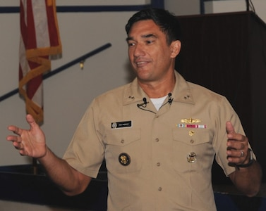 """DAHLGREN, Va. - Rear Adm. Patrick Piercey, Naval Surface Force Atlantic commander, tells the audience why he is passionate about diversity during his keynote speech at the Asian American and Pacific Islander Heritage Month Observance, May 23. """"This is about our children, it's about our future,"""" he said. """"I think this is the challenge we have today in our nation. Everyone has dreams and what we need to do is to help enable everyone to have a chance to get to their dreams."""""""