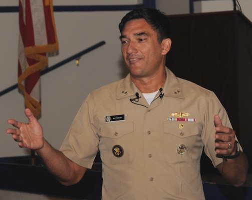 "DAHLGREN, Va. - Rear Adm. Patrick Piercey, Naval Surface Force Atlantic commander, tells the audience why he is passionate about diversity during his keynote speech at the Asian American and Pacific Islander Heritage Month Observance, May 23. ""This is about our children, it's about our future,"" he said. ""I think this is the challenge we have today in our nation. Everyone has dreams and what we need to do is to help enable everyone to have a chance to get to their dreams."""