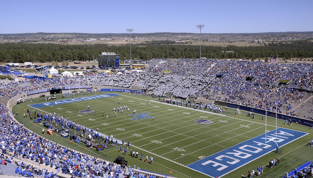 Sports fans fill Falcon Stadium during a Falcon Football match at the U.S. Air Force Academy. The 10th Security Forces Squadron is one organization among other first-responder teams that keep the popular stadium safe during large-scale events. (U.S. Air Force photo/Mike Kaplan)