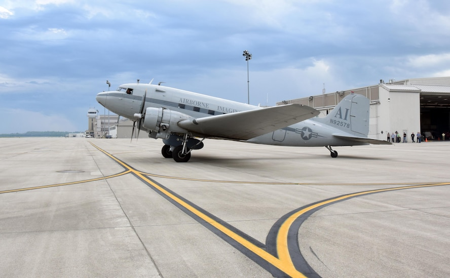 The Air Force Research Laboratory's AgilePod has commenced a series of flight tests aboard a Douglas DC-3 aircraft in preparation for integration on the Air Force MQ-9 Reaper unmanned aerial vehicle later this year. AgilePod is fully flight-line reconfigurable, and enables operators to meet a variety of mission sets with multiple sensors on a single platform. (U.S. Air Force photo/David Dixon)