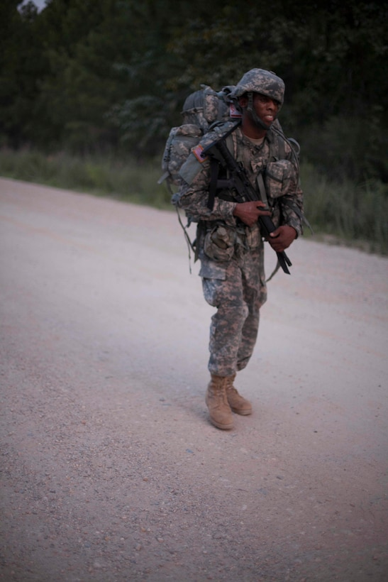 Sgt. Terrell Fields a Healthcare Specialist representing the U.S. Army Reserve Medical Command, competes in foot march, at the 2017 U.S. Army Reserve Best Warrior Competition at Fort Bragg, N.C. June 13. This year's Best Warrior Competition will determine the top noncommissioned officer and junior enlisted Soldier who will represent the U.S. Army Reserve in the Department of the Army Best Warrior Competition later this year at Fort A.P. Vill, Va. (U.S. Army Reserve photo by Spc. Jesse L. Artis Jr.) (Released)