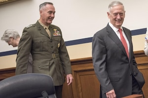 Defense Secretary Jim Mattis and Marine Corps Gen. Joe Dunford, chairman of the Joint Chiefs of Staff, arrive at the Rayburn House Office Building to provide testimony on the FY2018 Defense Budget Request before the House Armed Services Committee in Washington D.C., June 12, 2017. DoD photo by Navy Petty Officer 2nd Class Dominique A. Pineiro
