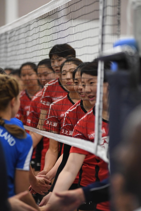 China defeats Germany in match seven of the 18th Conseil International du Sport Militaire (CISM) World Women's Volleyball Military Championship on 7 June 2017 at Naval Station Mayport, Florida. China remains undefeated and will face the United States in the finals on Friday, June 9th here at the Mayport Fitness Center. (Photo by Petty Officer Timothy Schumaker, NPASE Southeast)