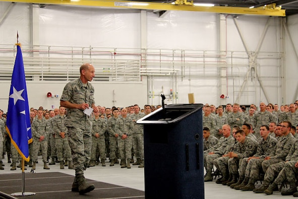 Gen. Mike Holmes, commander of Air Combat Command, addresses 388th Fighter Wing Airmen at an All Call June 13, 2017, at Hill Air Force Base, Utah.