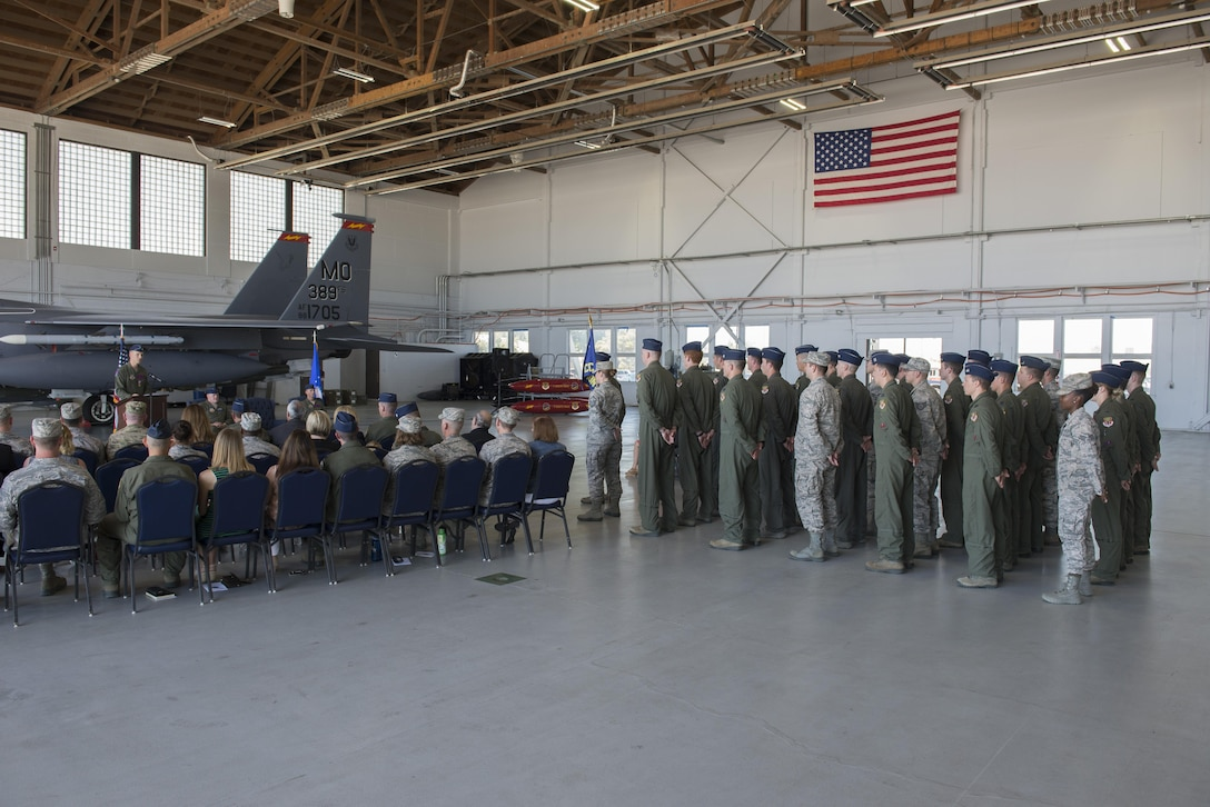 Lt Col. Gary Marlowe addresses the 389th Fighter Squadron at his change of command ceremony May 22, 2017, at Mountain Home Air Force Base, Idaho. Marlowe was the commander of the T-Bolts for two years before passing command to Lt Col. David Och. (U.S. Air Force photo by Airman 1st Class Jeremy D. Wolff/Released)