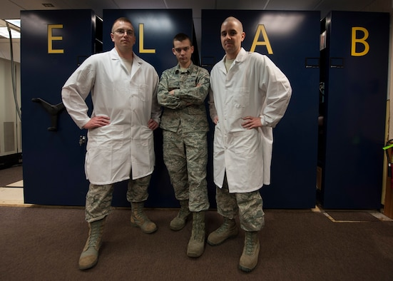 The 791st Maintenance Squadron Global Strike Challenge electronics laboratory team poses for a photo at Minot Air Force Base, N.D., May 31, 2017. Electronics laboratory Airmen are responsible for inspection, repair and calibration of electronic components for launch facilities and launch control centers while training for GSC 17. (U.S. Air Force photo/Airman 1st Class Jonathan McElderry)