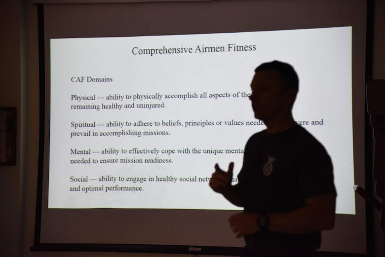 Senior Master Sgt. Richard Crim, 81st Security Forces Squadron superintendent, provides a resiliency brief at the 81st SFS building June 15, 2017, on Keesler Air Force Base, Miss. The briefing was one of several Wingman Week events focusing on resiliency and teambuilding initiatives across the base. (U.S. Air Force photo by Kemberly Groue)