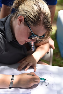 Senior Airman Taylor Tipten, 81st Aerospace Medicine Squadron BOMB-C technician, tallies the scores for a football skills competition behind the Blake Fitness Center June 13, 2017, on Keesler Air Force Base, Miss. The competition was one of several Wingman Week events focusing on resiliency and teambuilding initiatives across the base. (U.S. Air Force photo by Kemberly Groue)